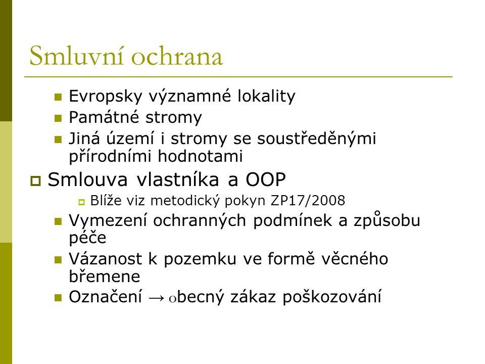Smluvní ochrana Smlouva vlastníka a OOP Evropsky významné lokality