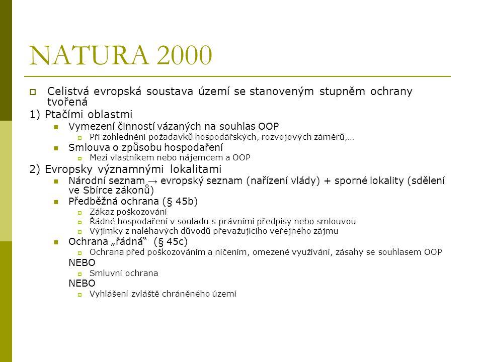 NATURA 2000 Celistvá evropská soustava území se stanoveným stupněm ochrany tvořená. 1) Ptačími oblastmi.