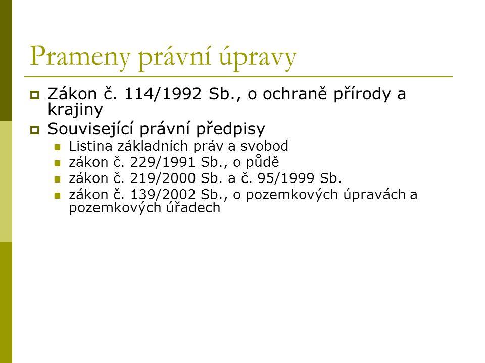 Prameny právní úpravy Zákon č. 114/1992 Sb., o ochraně přírody a krajiny. Související právní předpisy.
