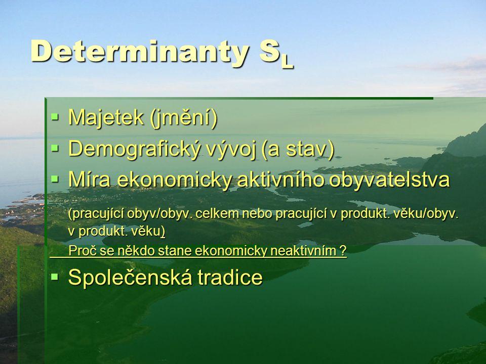 Determinanty SL Majetek (jmění) Demografický vývoj (a stav)