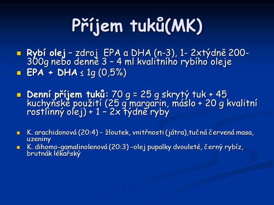 Příjem tuků(MK) Rybí olej – zdroj EPA a DHA (n-3), 1- 2xtýdně 200- 300g nebo denně 3 – 4 ml kvalitního rybího oleje.
