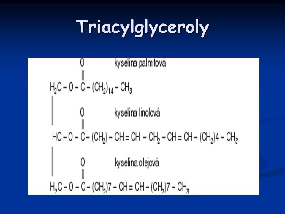 Triacylglyceroly Triacylglyceroly – neutrální tuky jsou estery jednomocných mastných kyselin a trojmocného alkoholu.