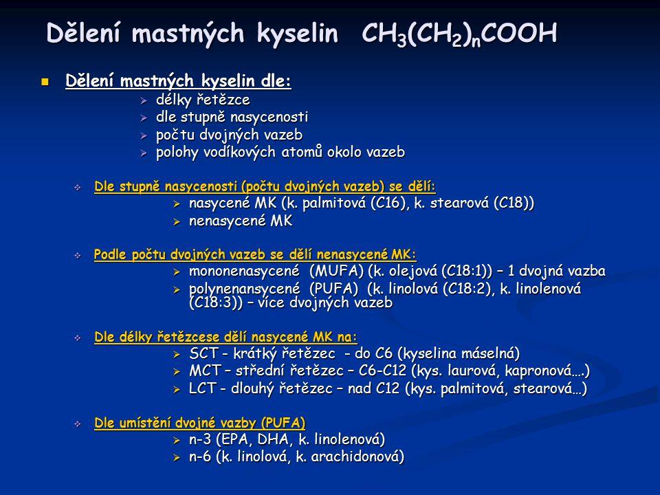 Dělení mastných kyselin CH3(CH2)nCOOH