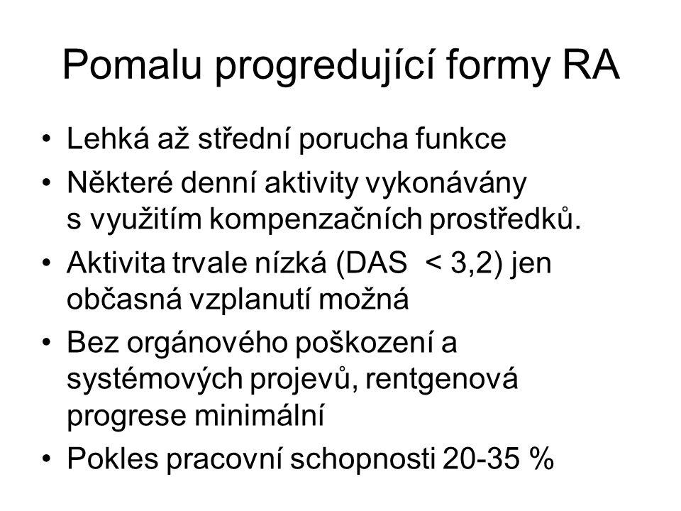 Pomalu progredující formy RA