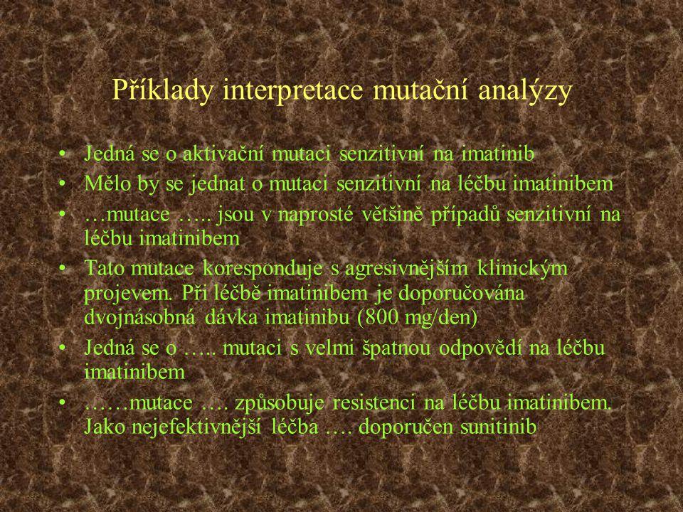 Příklady interpretace mutační analýzy