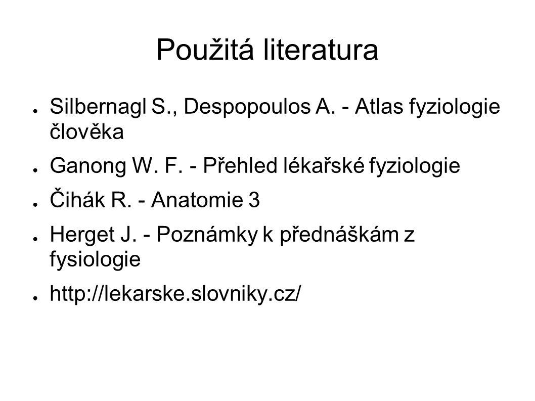 Použitá literatura Silbernagl S., Despopoulos A. - Atlas fyziologie člověka. Ganong W. F. - Přehled lékařské fyziologie.