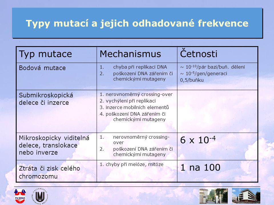 Typy mutací a jejich odhadované frekvence