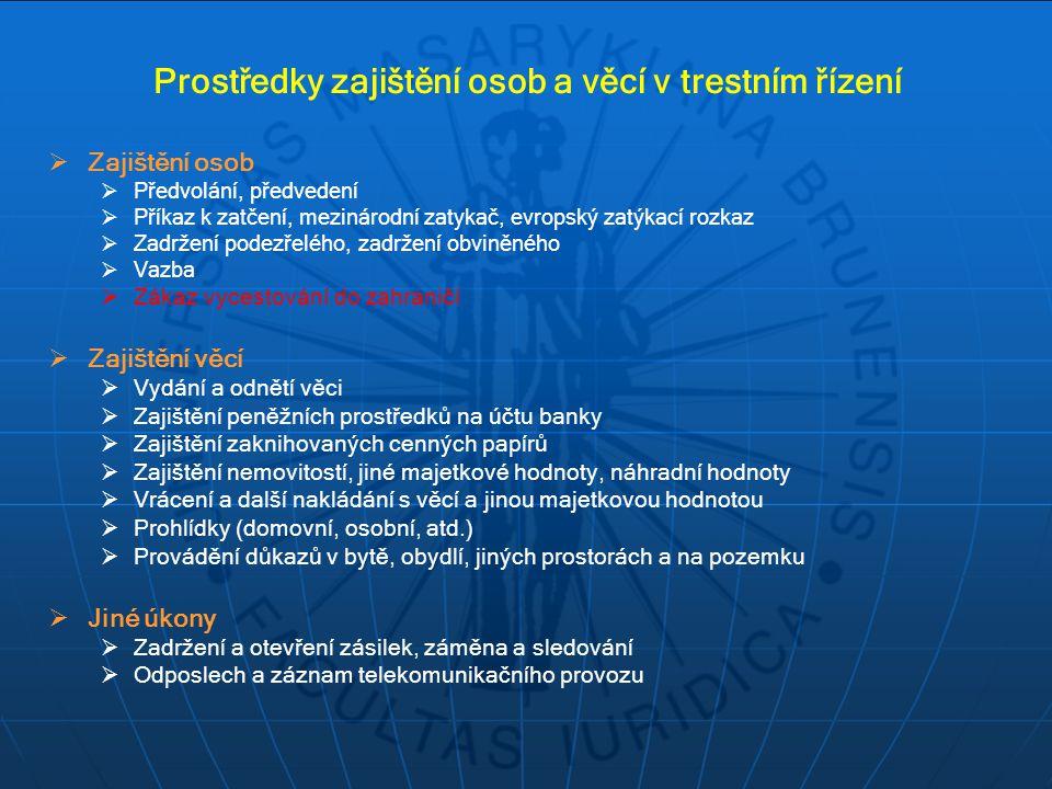 Prostředky zajištění osob a věcí v trestním řízení