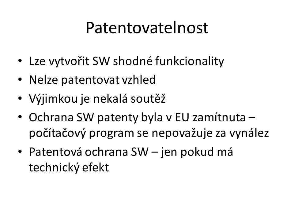 Patentovatelnost Lze vytvořit SW shodné funkcionality