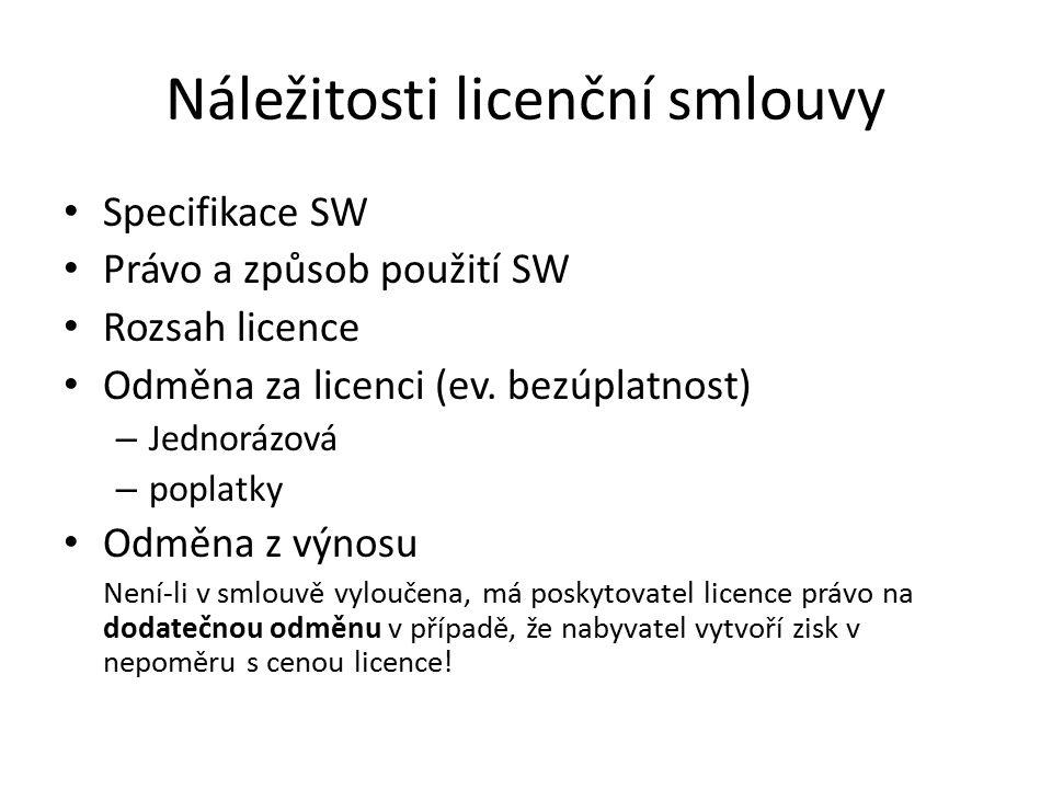 Náležitosti licenční smlouvy