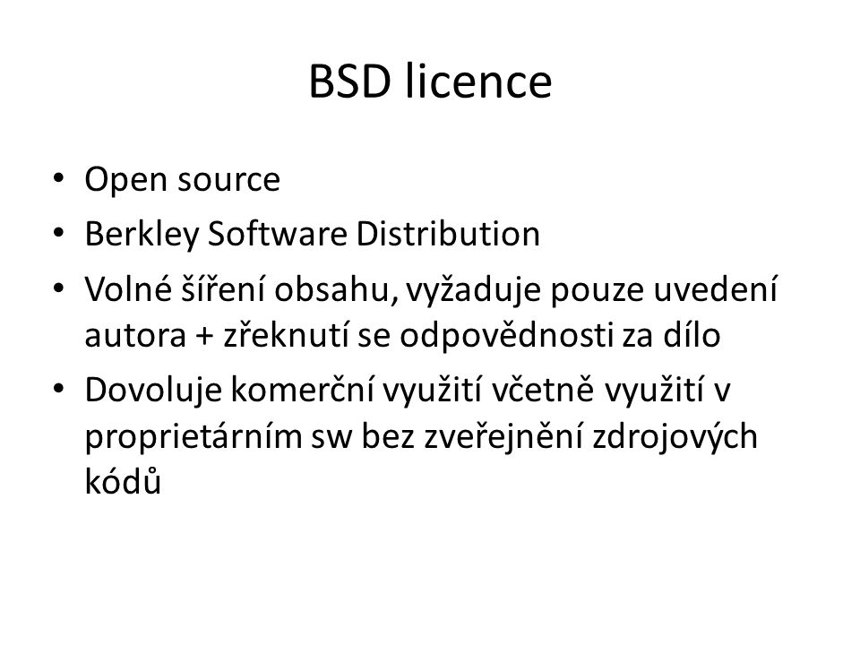 BSD licence Open source Berkley Software Distribution
