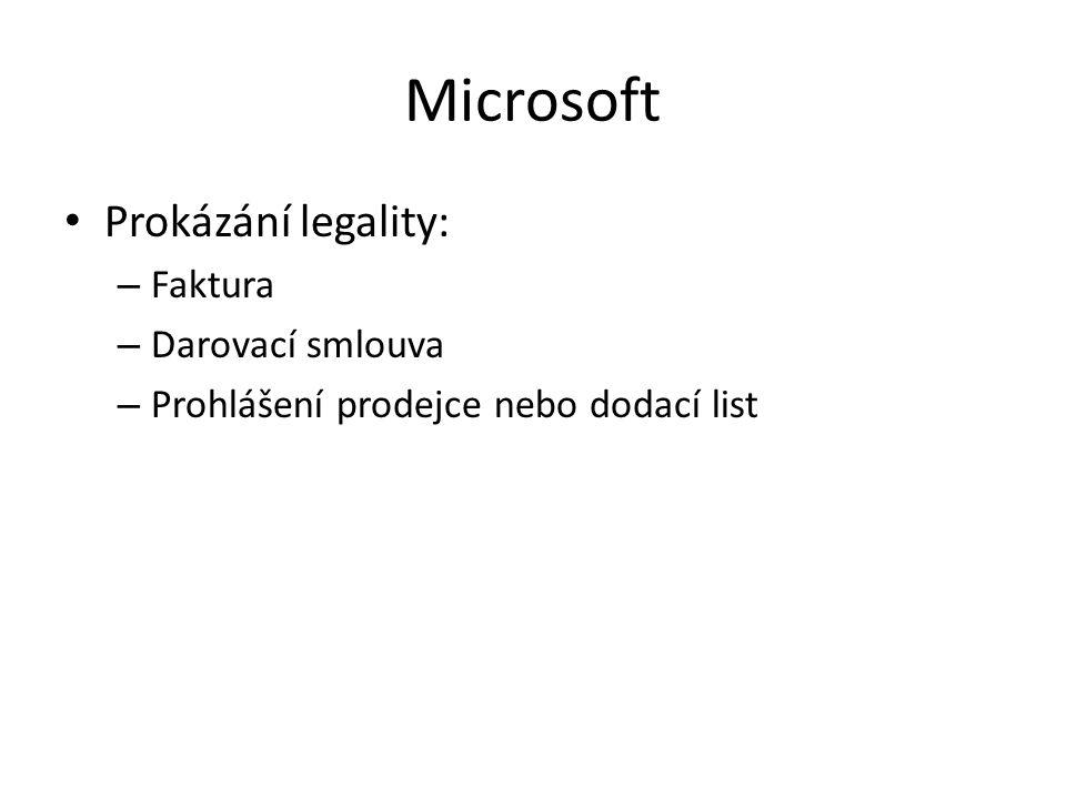 Microsoft Prokázání legality: Faktura Darovací smlouva