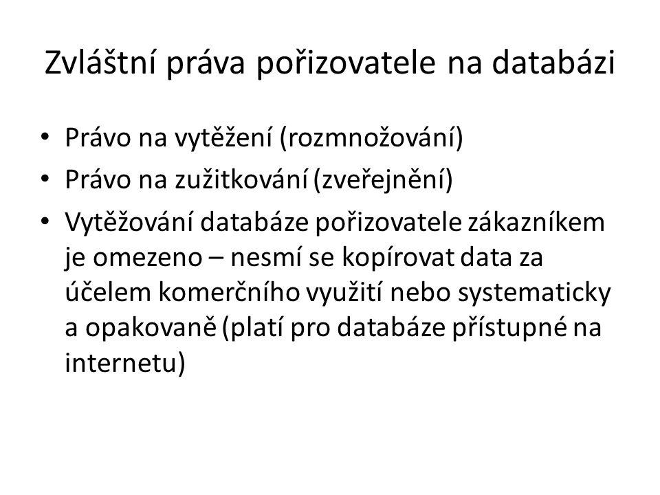 Zvláštní práva pořizovatele na databázi