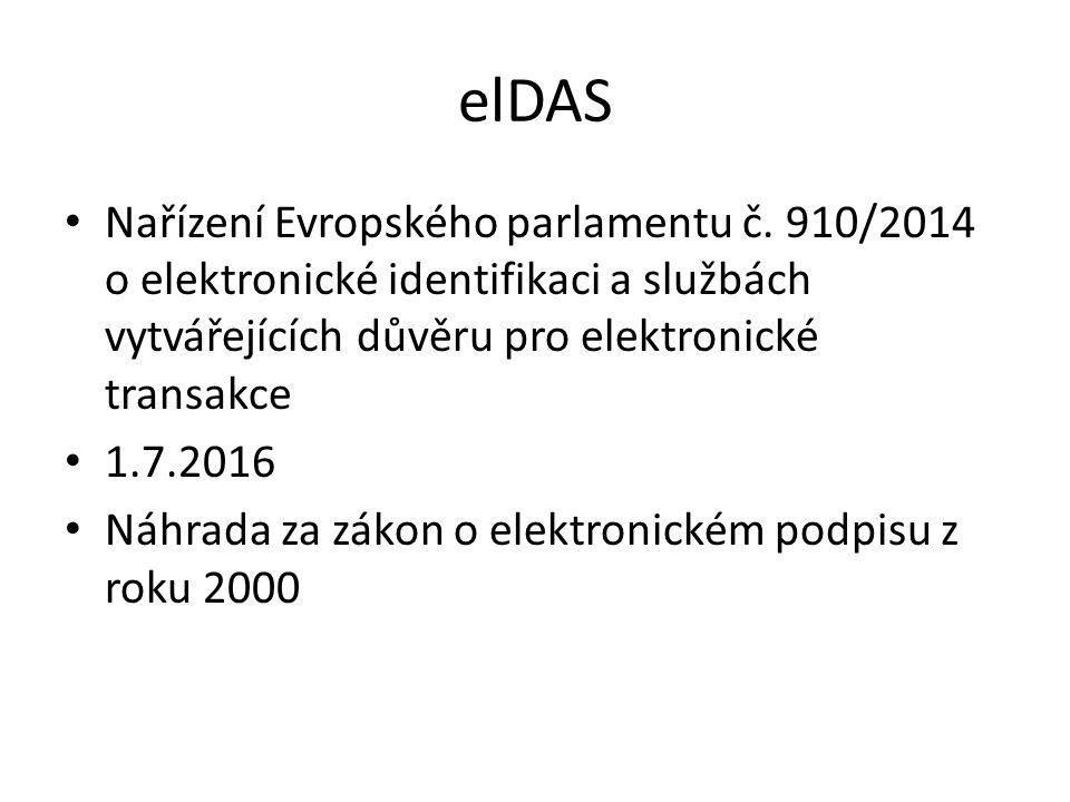 elDAS Nařízení Evropského parlamentu č. 910/2014 o elektronické identifikaci a službách vytvářejících důvěru pro elektronické transakce.