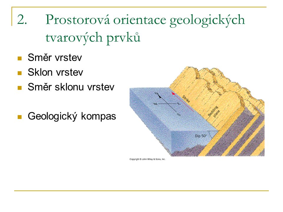 2. Prostorová orientace geologických tvarových prvků