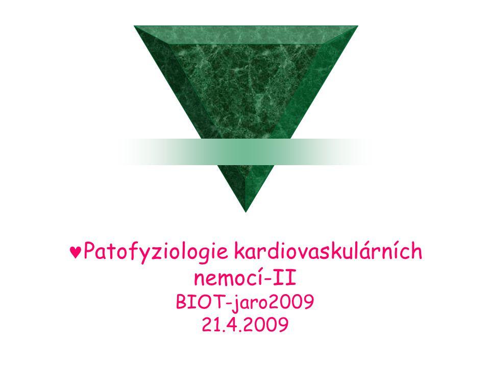 Patofyziologie kardiovaskulárních nemocí-II BIOT-jaro2009 21.4.2009