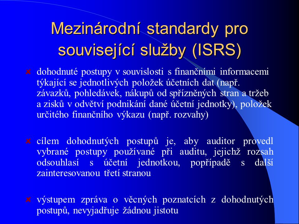 Mezinárodní standardy pro související služby (ISRS)