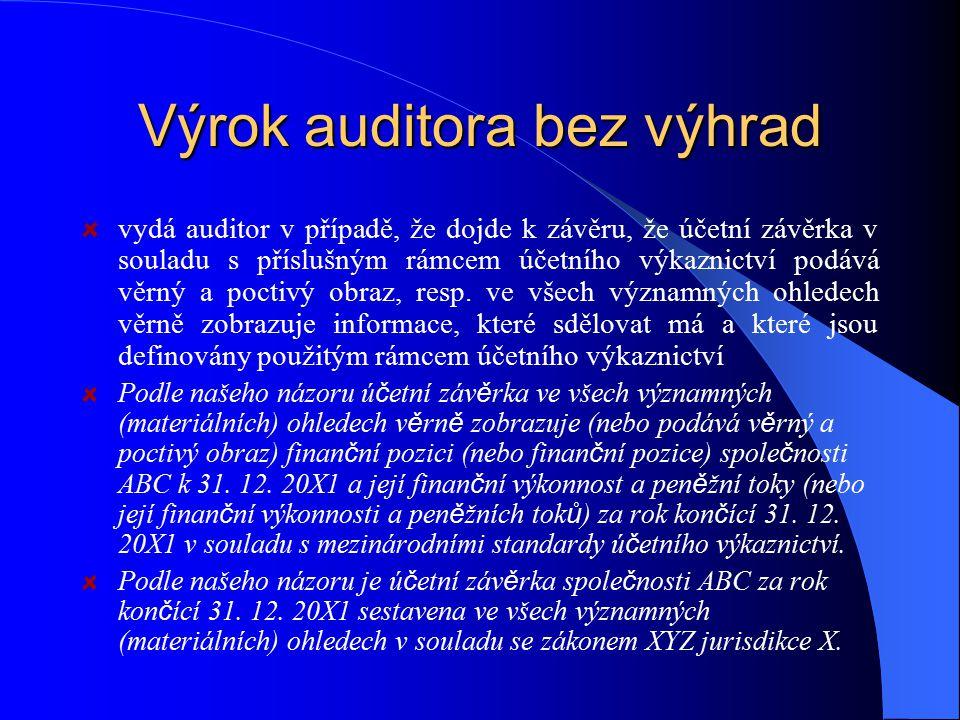 Výrok auditora bez výhrad