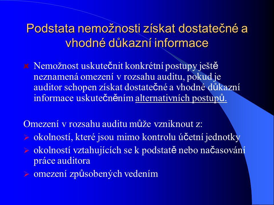 Podstata nemožnosti získat dostatečné a vhodné důkazní informace