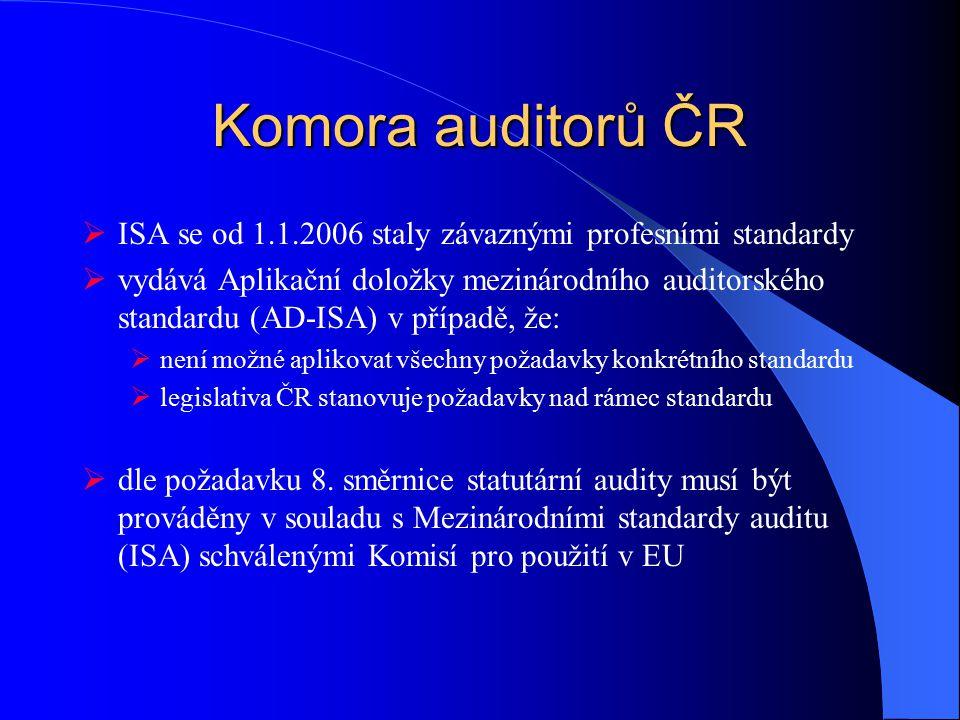 Komora auditorů ČR ISA se od 1.1.2006 staly závaznými profesními standardy.
