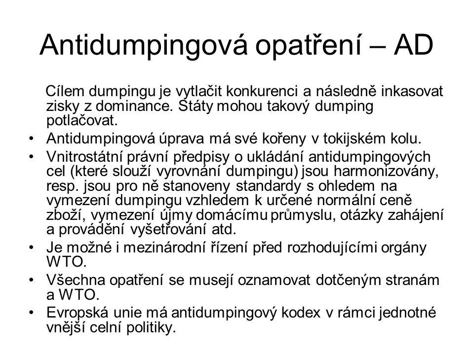 Antidumpingová opatření – AD