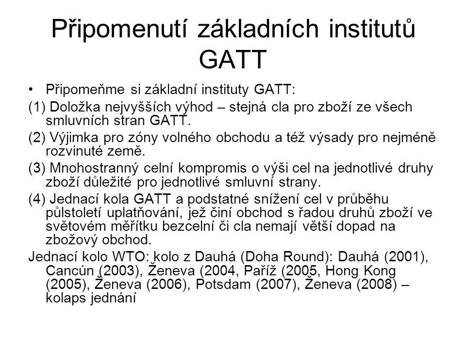 Připomenutí základních institutů GATT