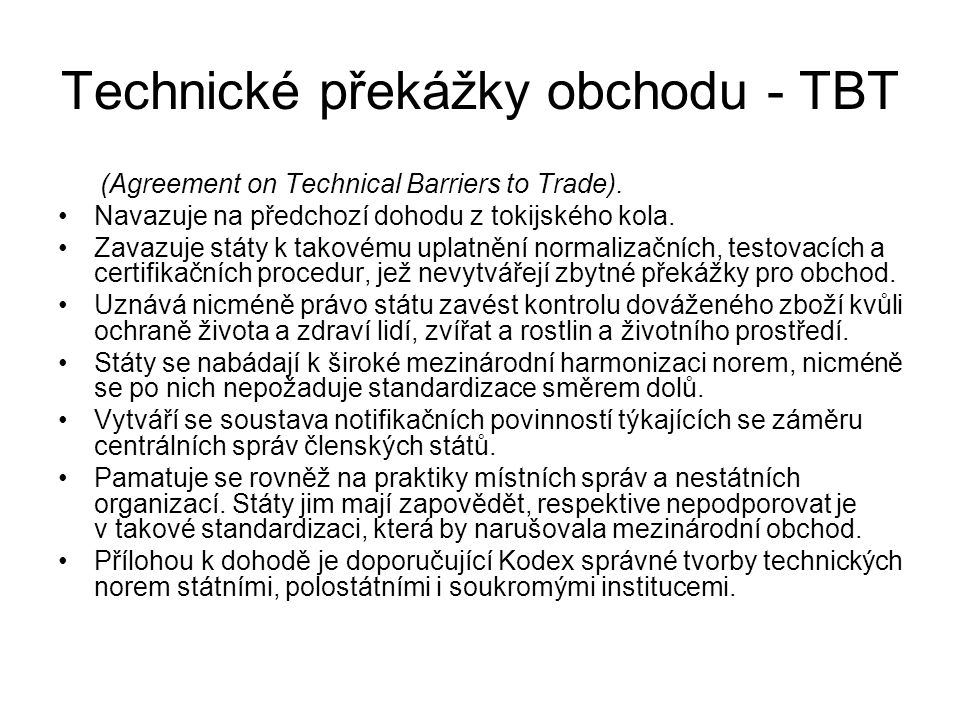 Technické překážky obchodu - TBT