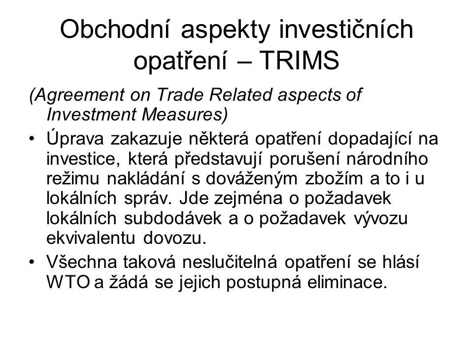 Obchodní aspekty investičních opatření – TRIMS