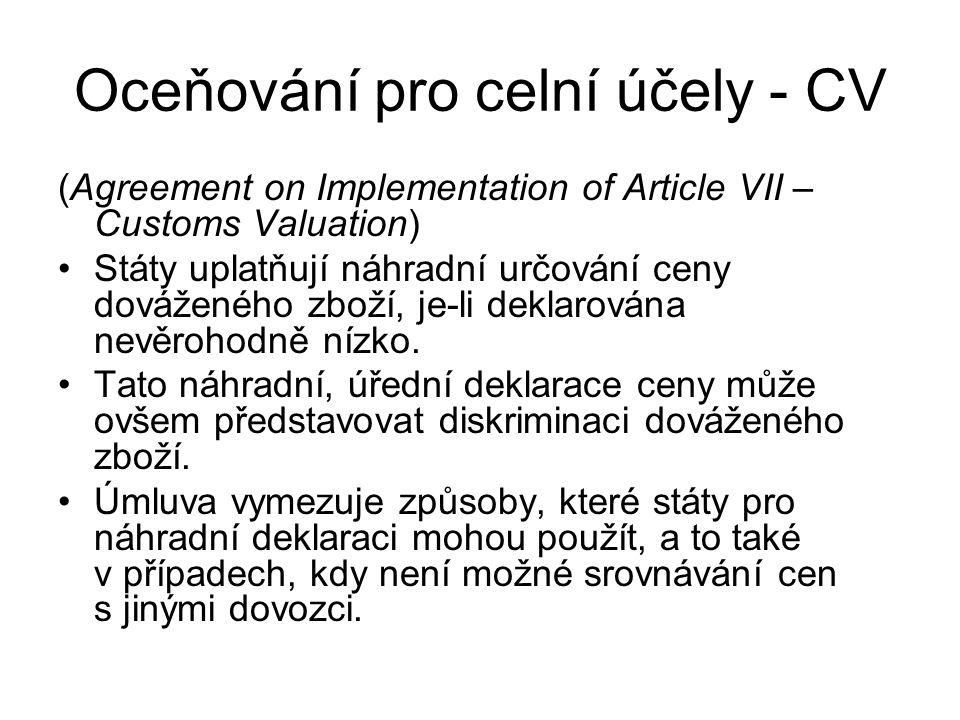 Oceňování pro celní účely - CV