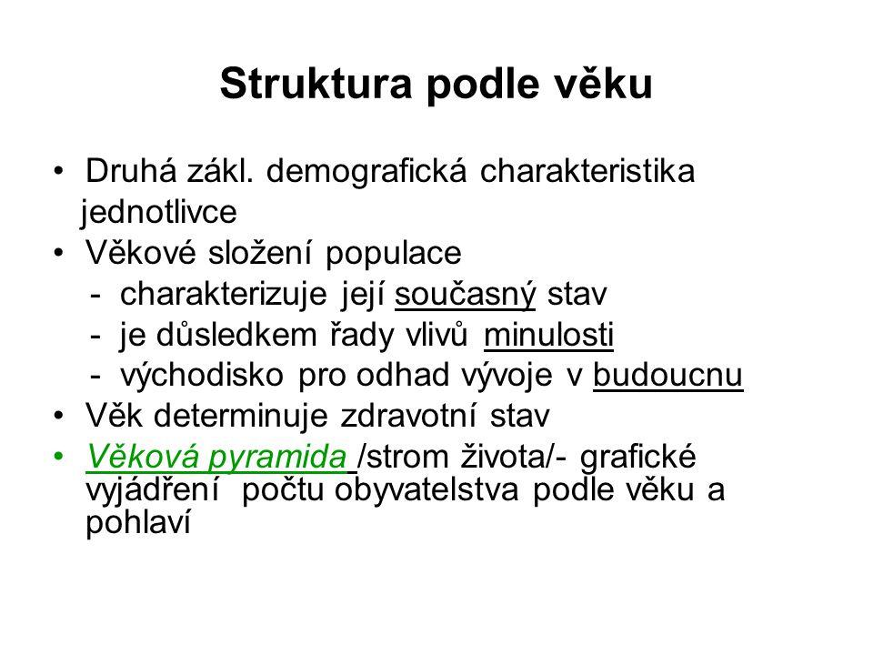 Struktura podle věku Druhá zákl. demografická charakteristika