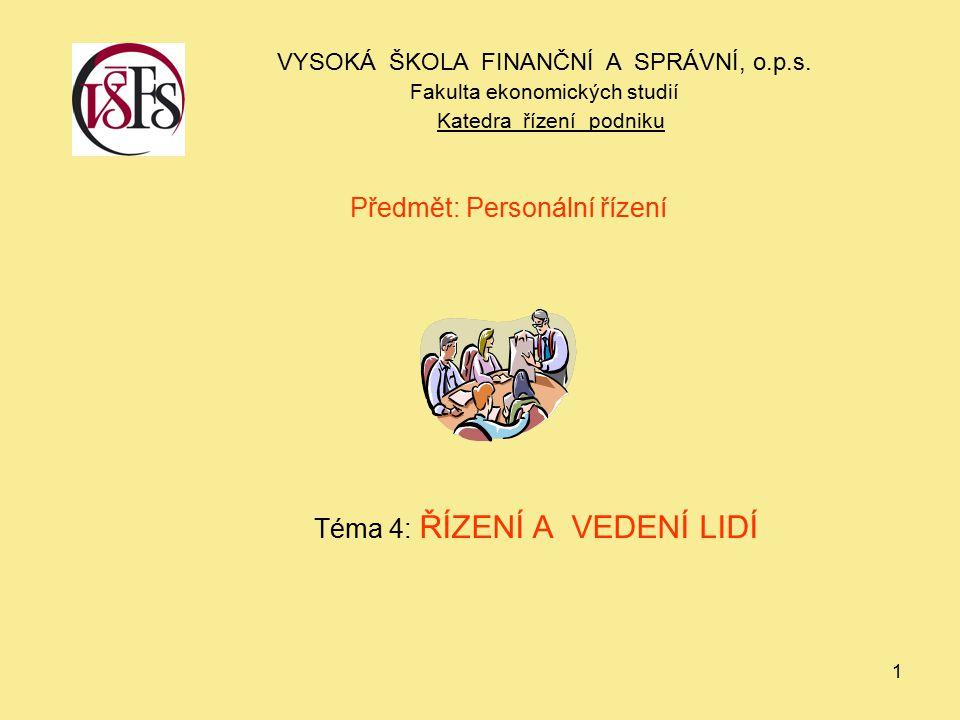 Předmět: Personální řízení Téma 4: ŘÍZENÍ A VEDENÍ LIDÍ
