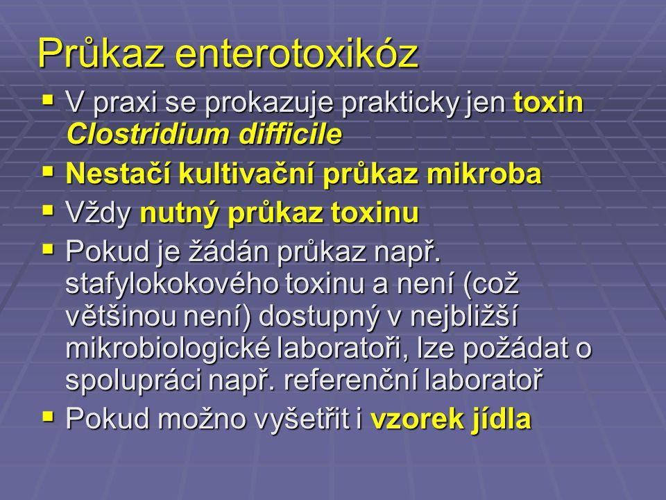 Průkaz enterotoxikóz V praxi se prokazuje prakticky jen toxin Clostridium difficile. Nestačí kultivační průkaz mikroba.