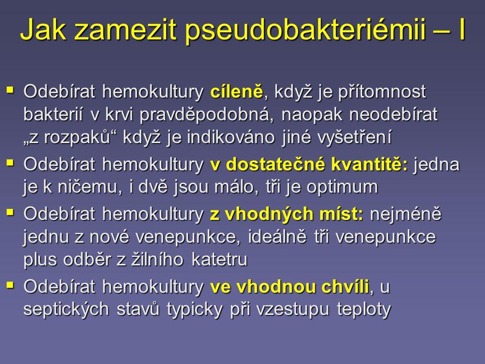 Jak zamezit pseudobakteriémii – I