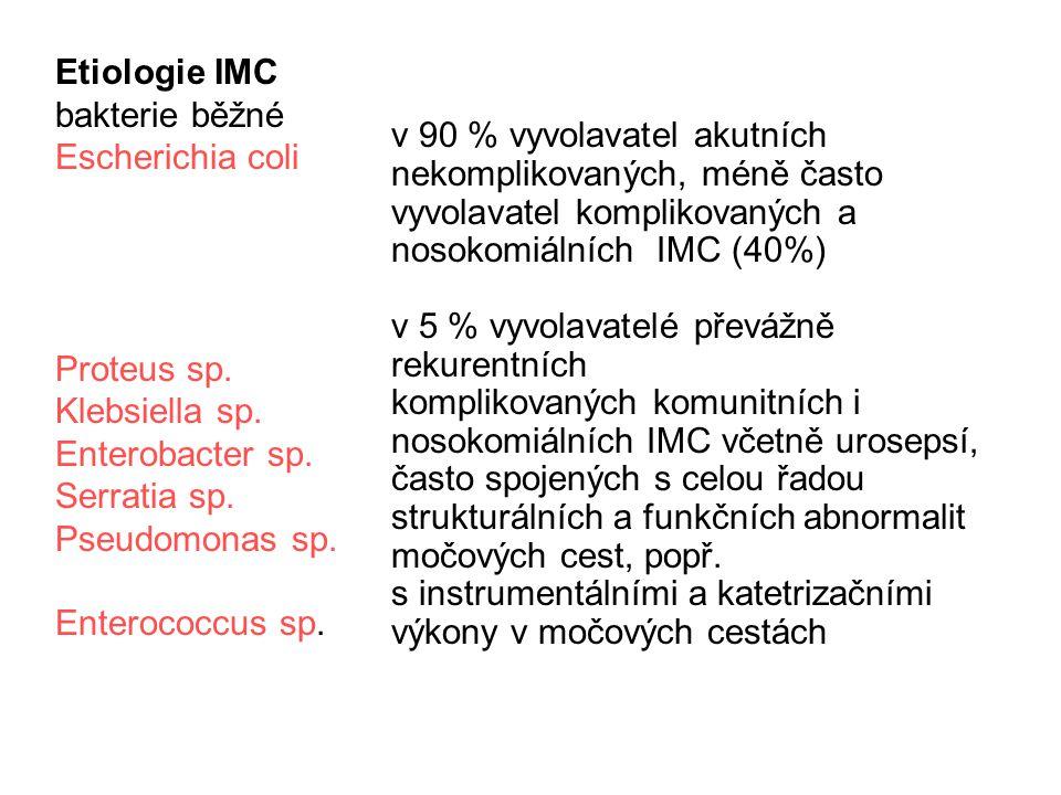v 90 % vyvolavatel akutních nekomplikovaných, méně často vyvolavatel komplikovaných a nosokomiálních IMC (40%)