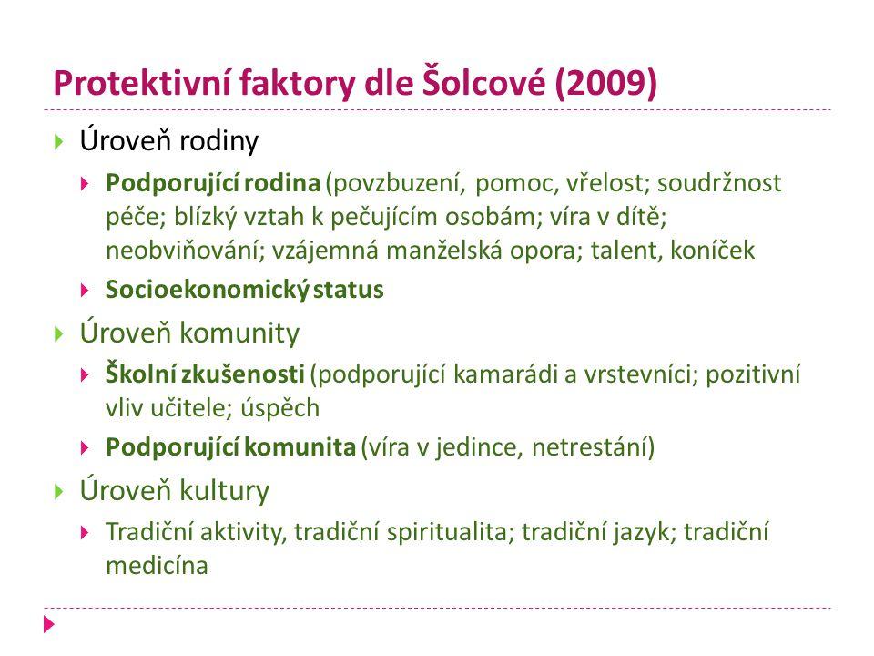 Protektivní faktory dle Šolcové (2009)