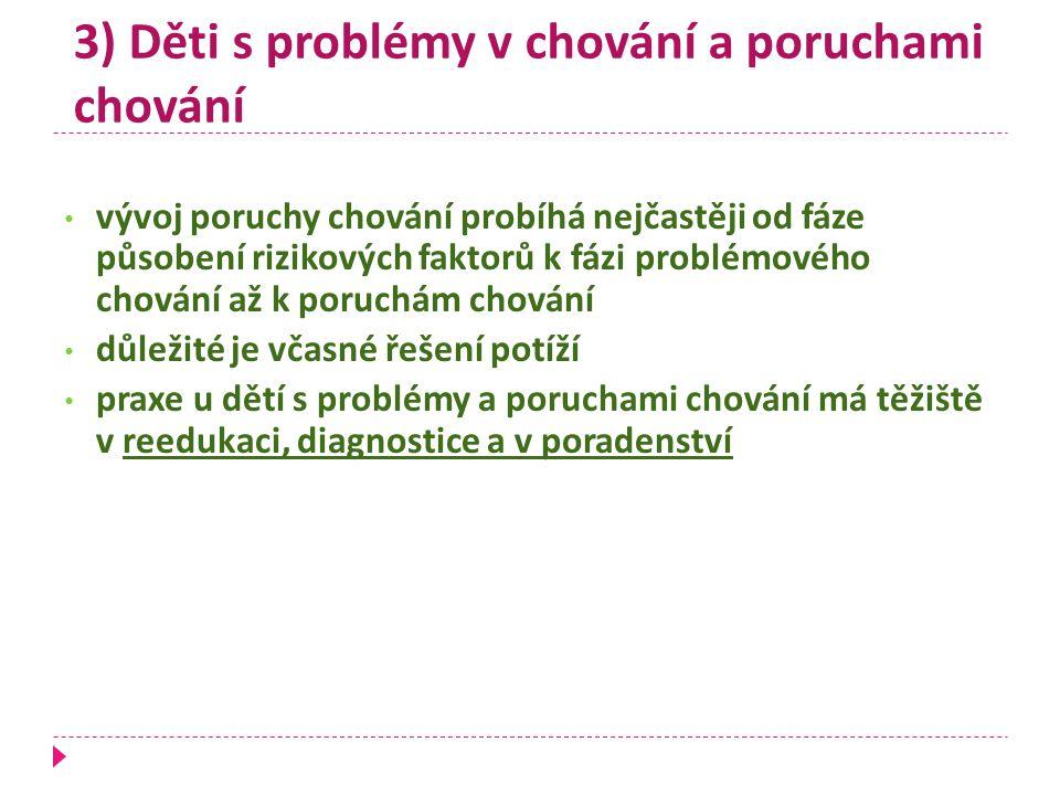 3) Děti s problémy v chování a poruchami chování