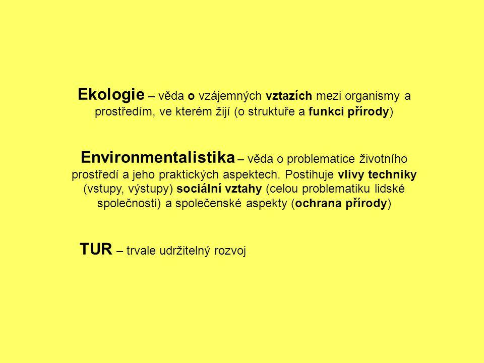Ekologie – věda o vzájemných vztazích mezi organismy a prostředím, ve kterém žijí (o struktuře a funkci přírody)