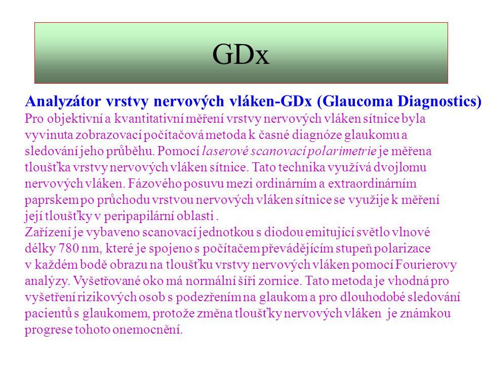 GDx Analyzátor vrstvy nervových vláken-GDx (Glaucoma Diagnostics)