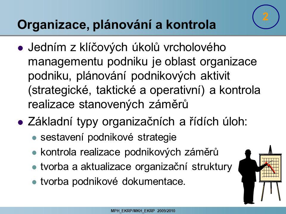Organizace, plánování a kontrola