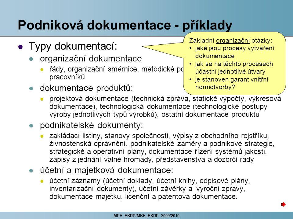 Podniková dokumentace - příklady