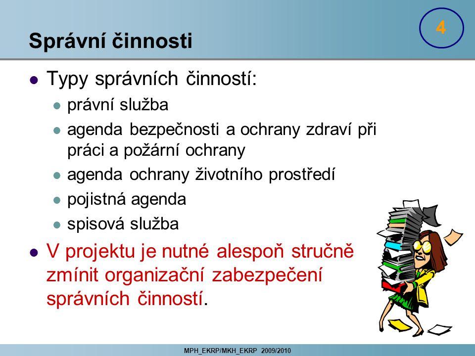 Správní činnosti Typy správních činností: