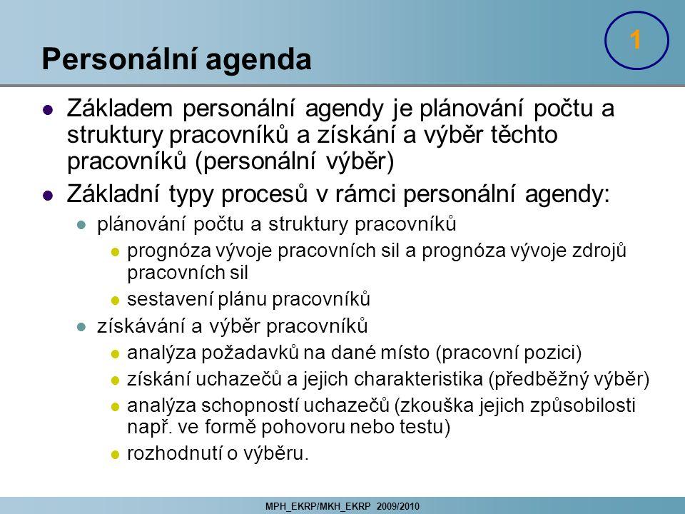 1 Personální agenda. Základem personální agendy je plánování počtu a struktury pracovníků a získání a výběr těchto pracovníků (personální výběr)