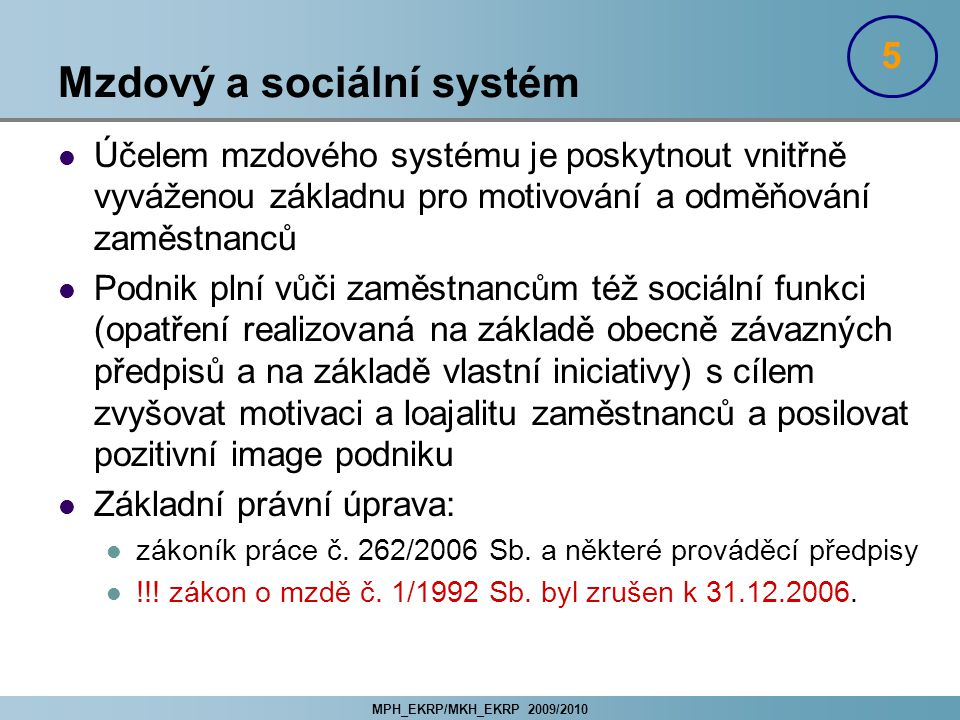 Mzdový a sociální systém