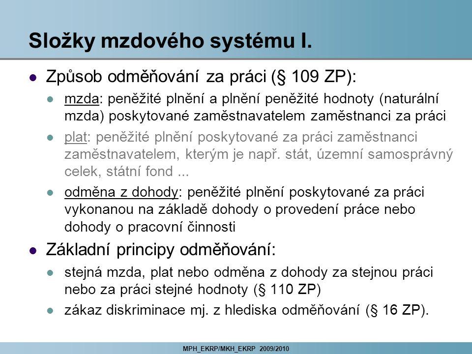 Složky mzdového systému I.