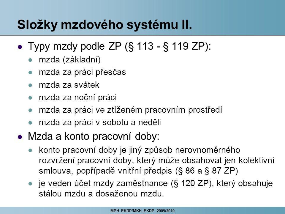 Složky mzdového systému II.