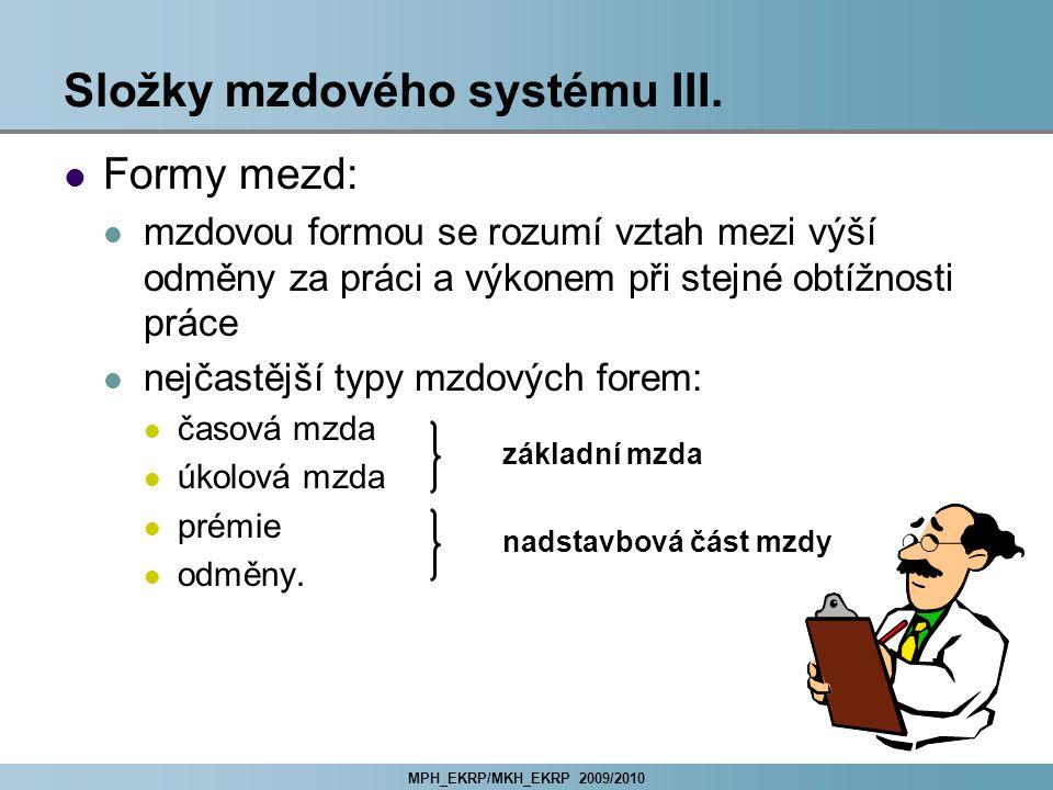 Složky mzdového systému III.