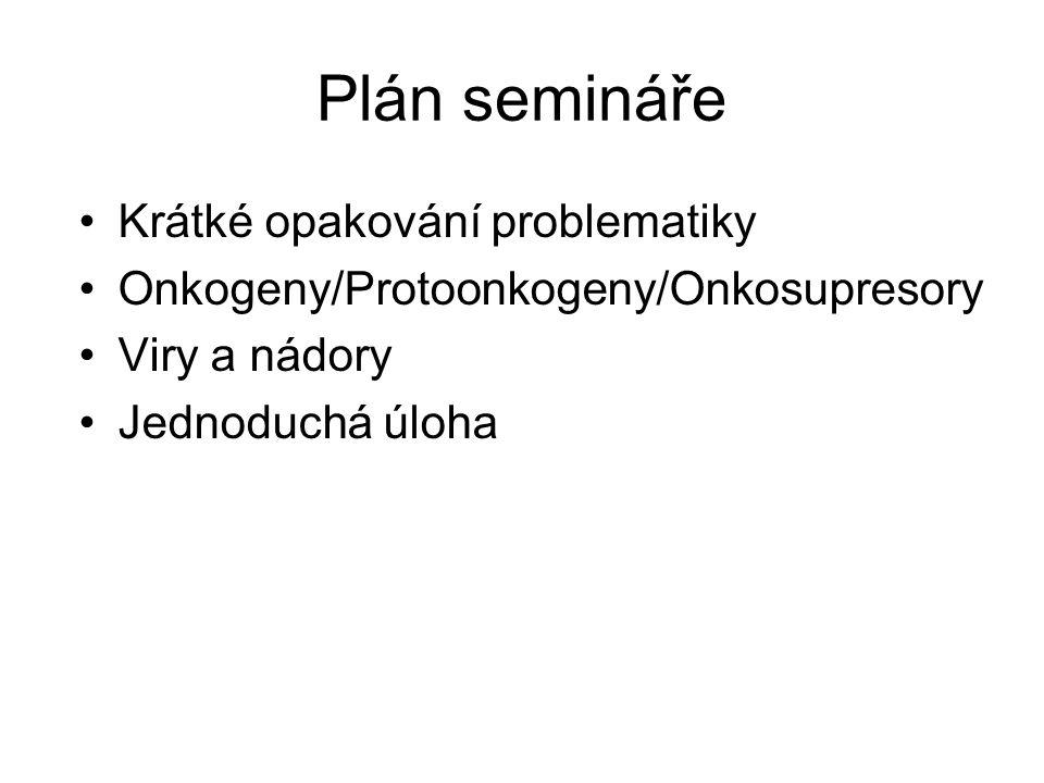 Plán semináře Krátké opakování problematiky