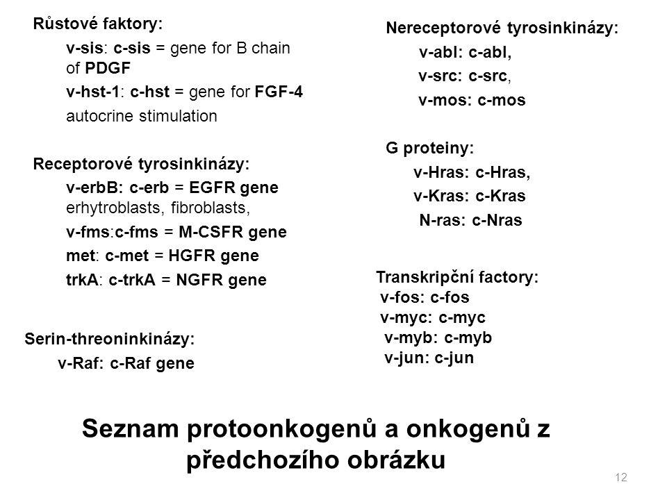 Seznam protoonkogenů a onkogenů z předchozího obrázku