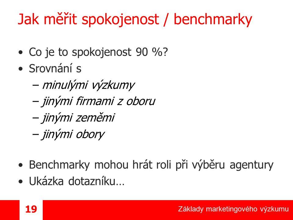 Jak měřit spokojenost / benchmarky