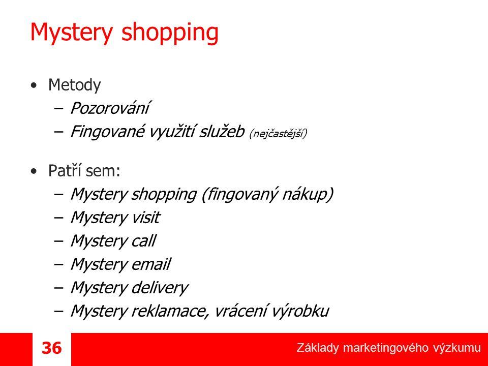 Mystery shopping Metody Pozorování